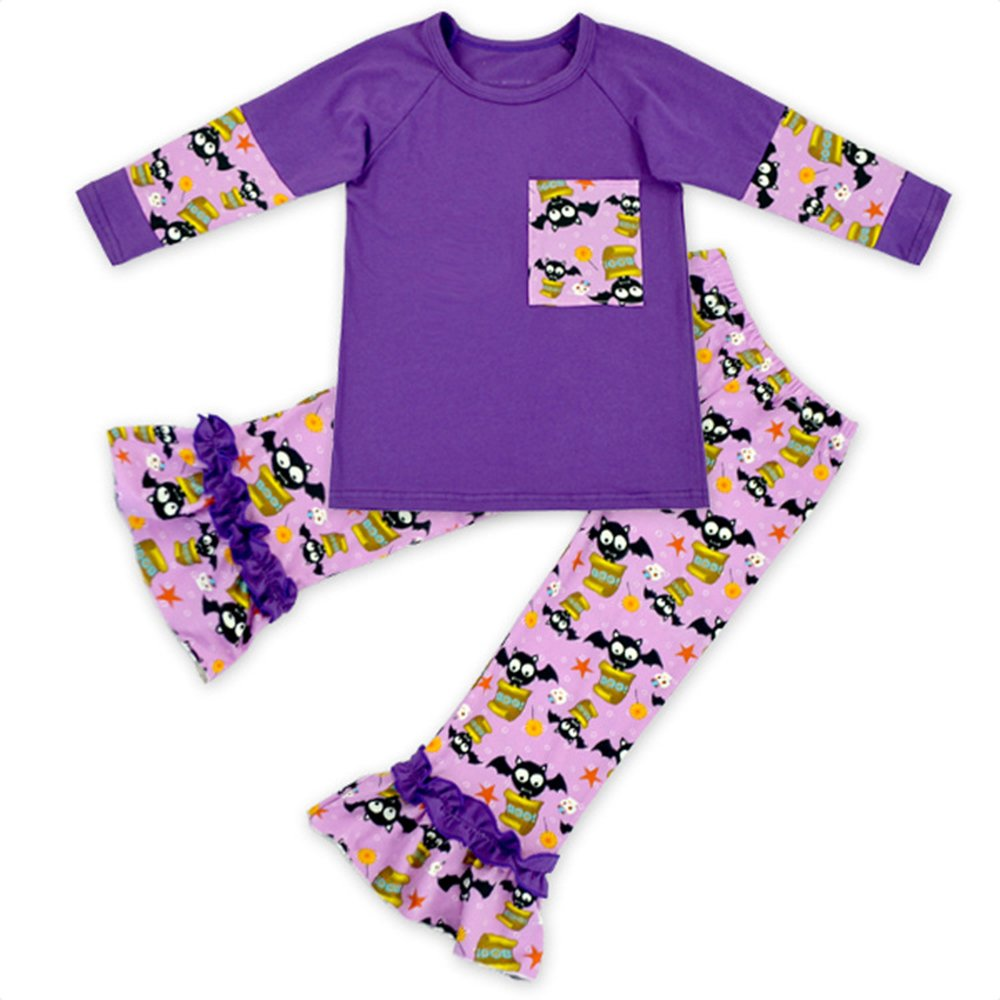Anbaby Baby Girl Long Sleeves Top with Ruffle Pants Sets Baby Girls Halloween Outfits Anbab105
