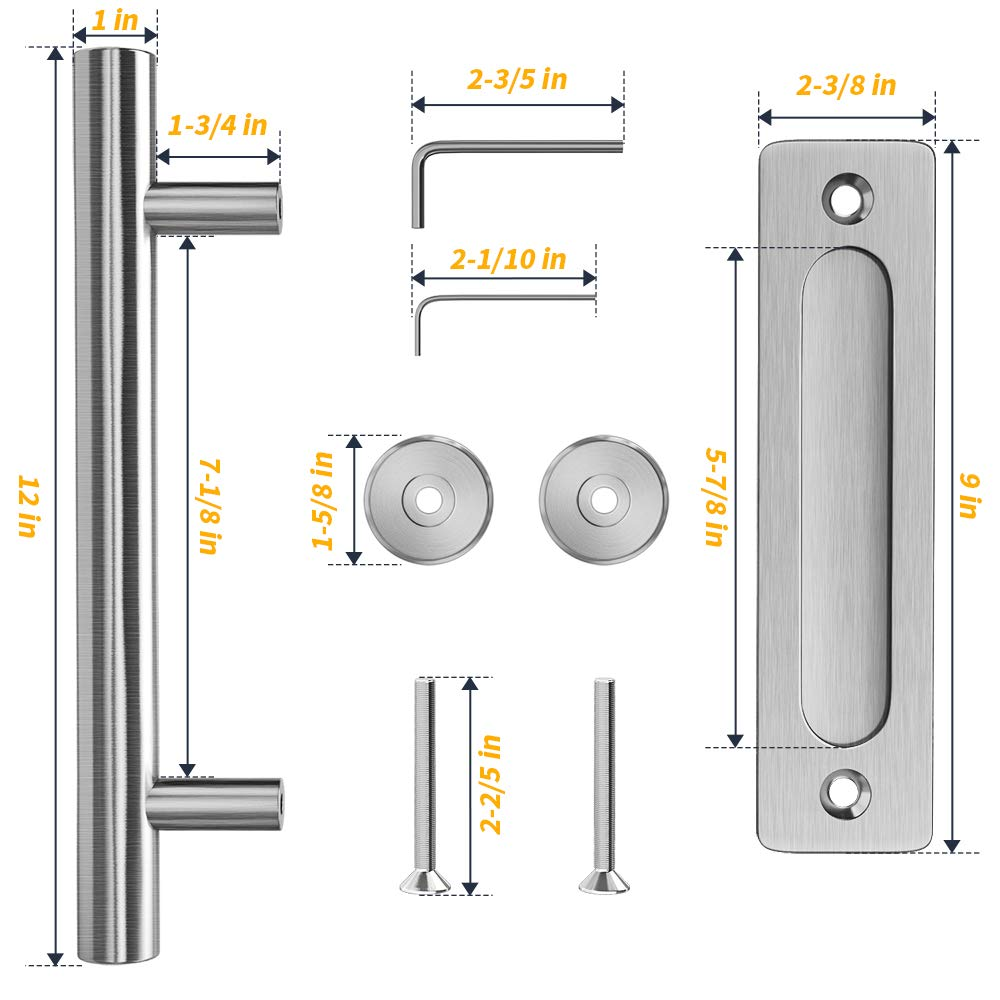 Garages Sheds Stainless Steel Door Pull Handle with Flush-Mount Plate /& Cabin Hook Lock Modern Door Pulls Handle Set for Sliding Doors Barns LuckIn Heavy Duty Barn Door Handle 12 inch Closets