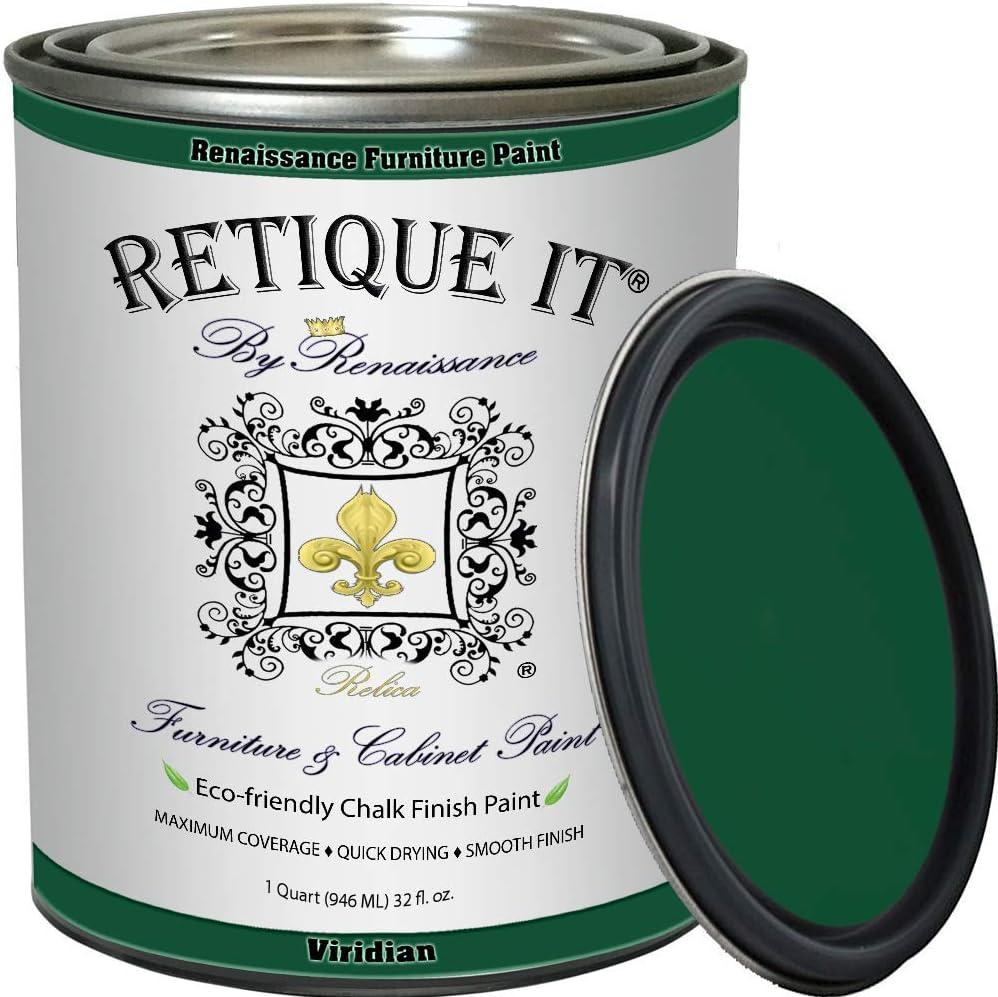 Retique It Chalk Furniture Paint by Renaissance DIY, 32 oz (Quart), 49 Viridian, 32 Ounces