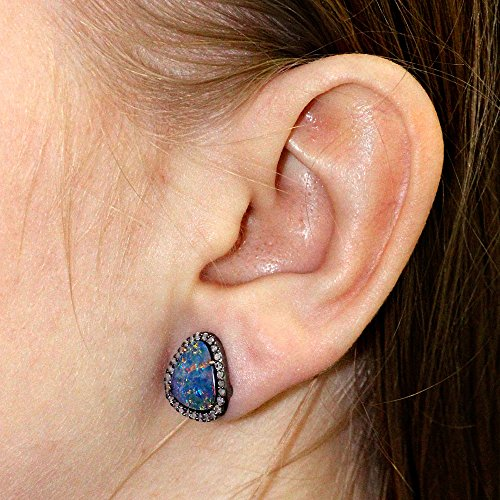 14K Yellow Gold Pave Diamond Opal Gemstone Stud Earrings 925 Sterling Silver Jewelry 14k Yellow Gold Opal Gemstone Earrings
