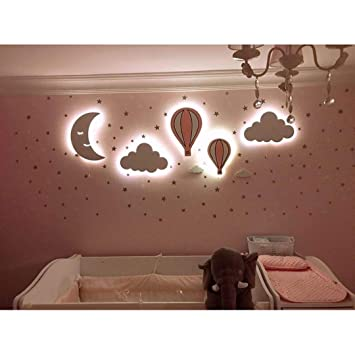 Nursery Boys Baby Kids Room Decor Wall Light Set Of 5 Wooden Night Light With Led Baby Pink Amazon Com