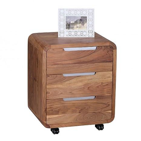 KS-Furniture BOHA - Cajonera con Ruedas (Madera de Acacia, 3 ...