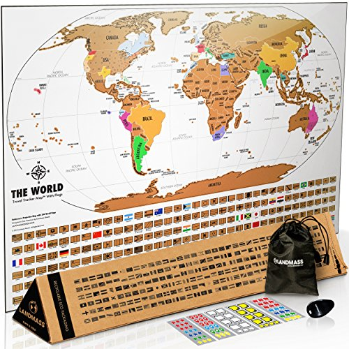 Landmass Scratch Off World Map Poster. Original Travel Tracker Map Print w/Flags, US states outlined. Clean design and vibrant colors to make your story come to life. The gift travelers want. by Landmass Goods