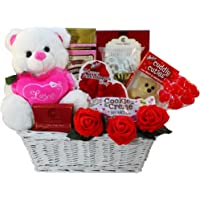 Valentine Treasures Gift Basket w/Teddy Bear