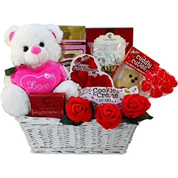 Image Unavailable. Image not available for. Color: Valentine Treasures Gift Basket w/Teddy Bear