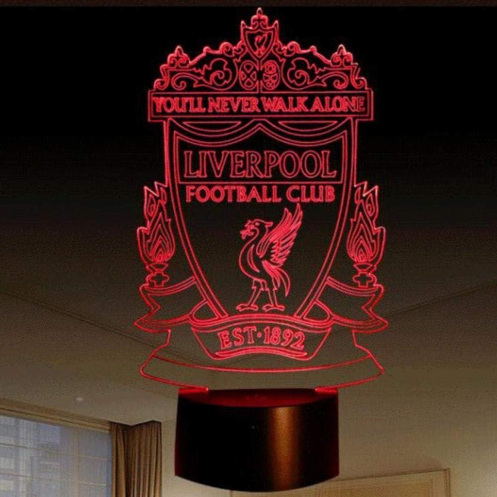 Sproud Liverpool Team Logo 3D Lámpara 7 colores táctil Led Night Lamps | Baby Nightlight Nightlight | Led Usb Visual Lámpara de mesa | Para niños Regalo para niños