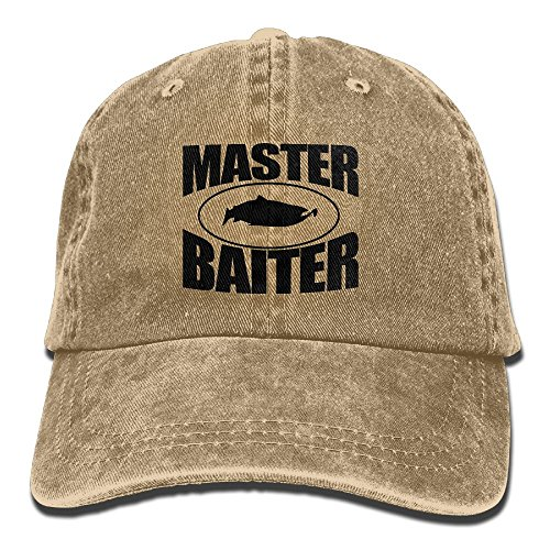 Fishing Master Baiter One Size Denim Baseball Cap Adjustable Dad Hat Unisex Sports Trucker Cap Peaked Cap For Men Women Adults (Hat Masters Trucker)