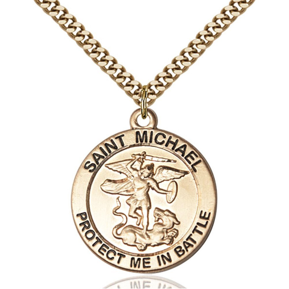 Gold Filled St. Michael Pendant 1 X 7/8 inches with Heavy Curb Chain by Bonyak Jewelry Saint Medal Collection
