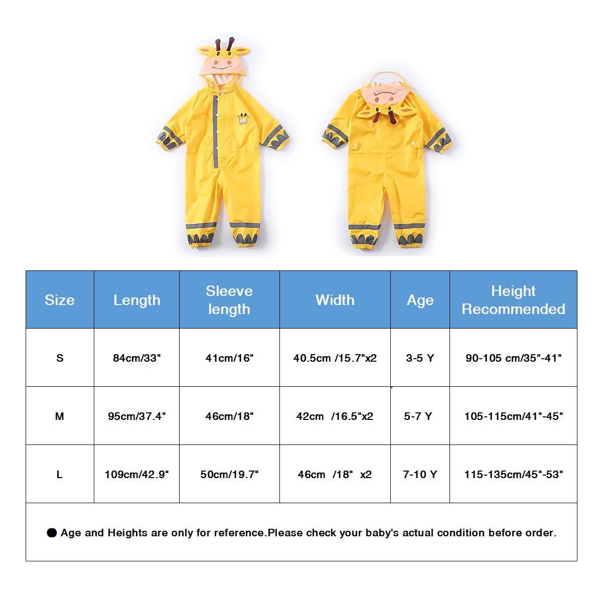 Unisex-Regenmantel f/ür Kleinkinder mit reflektierenden und winddichten H/üten f/ür Outdoor Schule PROTAURI Einteiliger Regenanzug f/ür Kinder Schutz