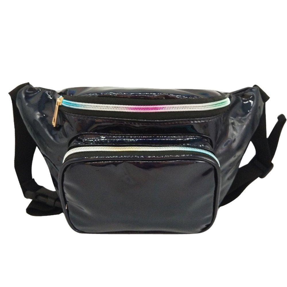 Women Laser Waterproof Leather Crossbody Bag Messenger Shoulder Bag Chest Bag Travel Waist Pack Fashion Belt Bags Waist Bag Black