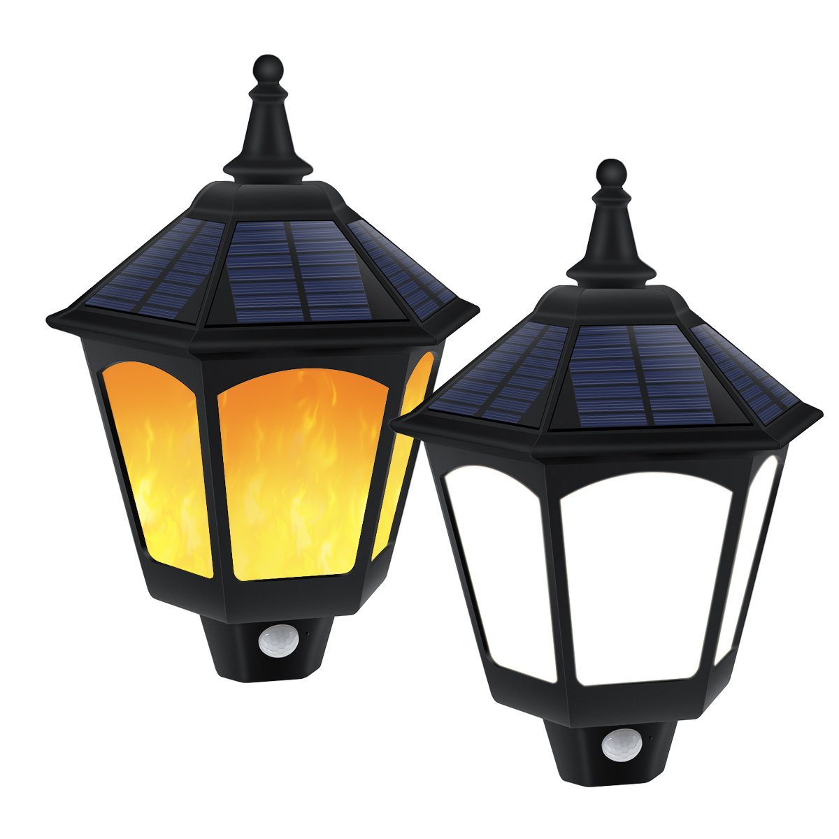 Solar Lights Outdoor, Motion Sensor Lights 6000k White Light + Dusk to Dawn Auto On/Off Warm Flickering Flames Lights for Garden Yard Pathway Front Door Patio Porch 2 Pack
