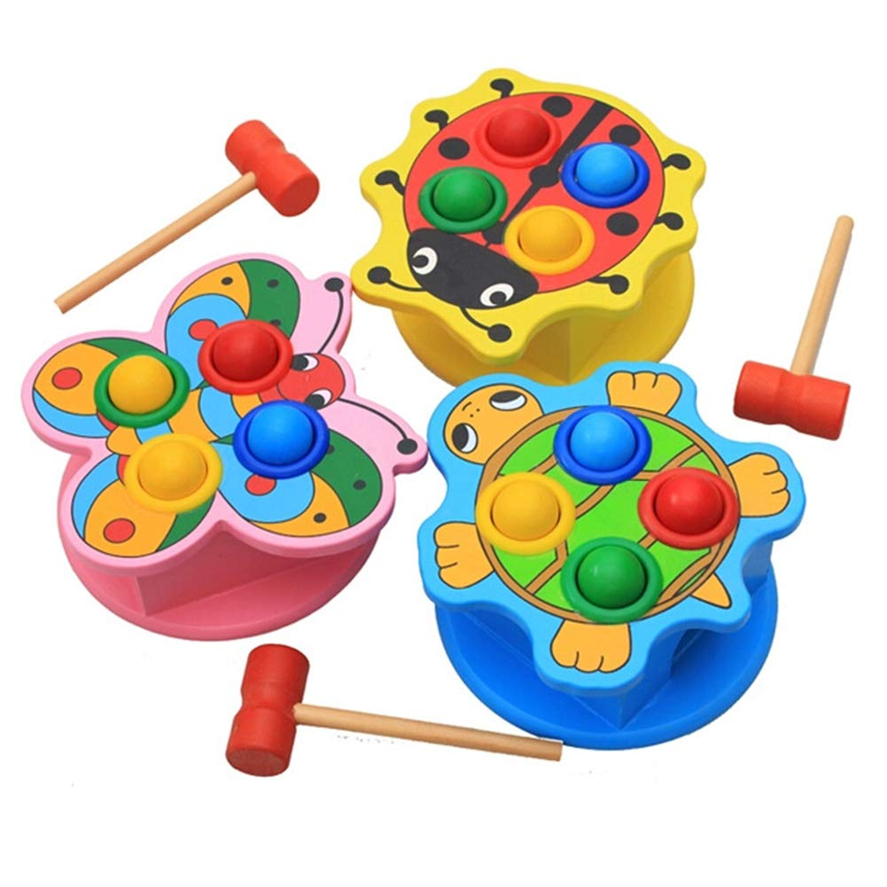 Konvinit Pounding & Tap Bench Wooden Deluxe Toy, MontessoriEducational Interactive Creative Roll Games Set of 3 for Toddlers Kids Children Baby Boy Girl