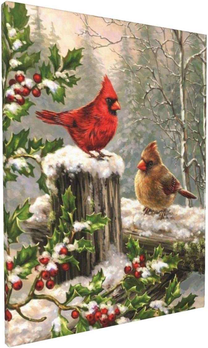 Canvas Wall Decor Art Painting Print, Winter Snow Cardinal Birds Holly Berry Home Decoration Artwork Framed Picture Ready to Hang 12x16 Inch