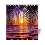 Gwein Beach in Sunset Time Palm Trees Purple Shower Curtain Polyester Fabric Mildew Proof Waterproof Cloth Shower Room Decor Shower Curtains 72x72
