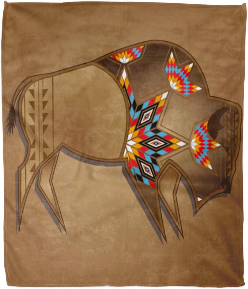 "Emvency 60"" x 80"" Super Soft Throw Blanket Animal Buffalo with Native Design Bull Cow Head Horn Nature Skull Home Decorative Flannel Velvet Plush Blanket"