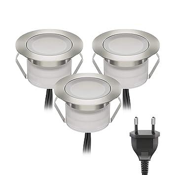 LED Boden-Einbauleuchte BIMI für außen warm-weiß IP67 45mm Ø 9er Set je 50lm