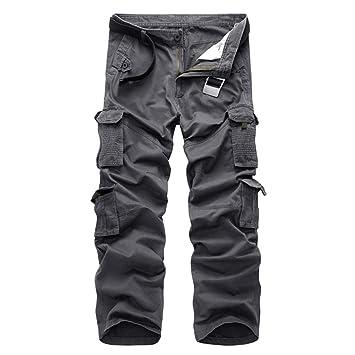 Msliy Pantalones Cargo de Trabajo para Hombre Largos Casuales Deporte  Pantalones con Multibolsillos 54b42cef5a4a