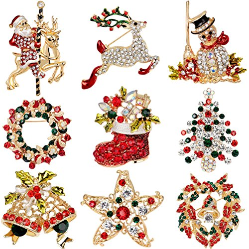 Set Brooch Gift (buytra 9 Pack Multi-colored Rhinestone Crystal Christmas Brooch Pin Set for Christmas Decorations Ornaments Gifts Including-Christmas Tree,Santa Claus,Snowman,Jingle Bells,Star,Garland,Reindeer)