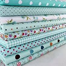 Xiaolanwelc@ 9Pcs Cotton Flower Polka Dots Pre Cut DIY Handmade Decor Charm Cloth Squares Quilt Household Patchwork Sewing Fabrics Textiles