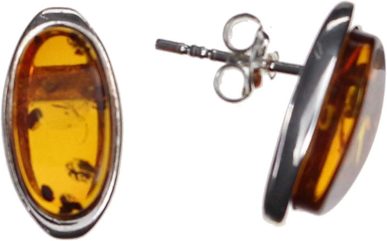 Modernos pendientes ovalados con ámbar natural y plata de ley 925/000 de Artisana.
