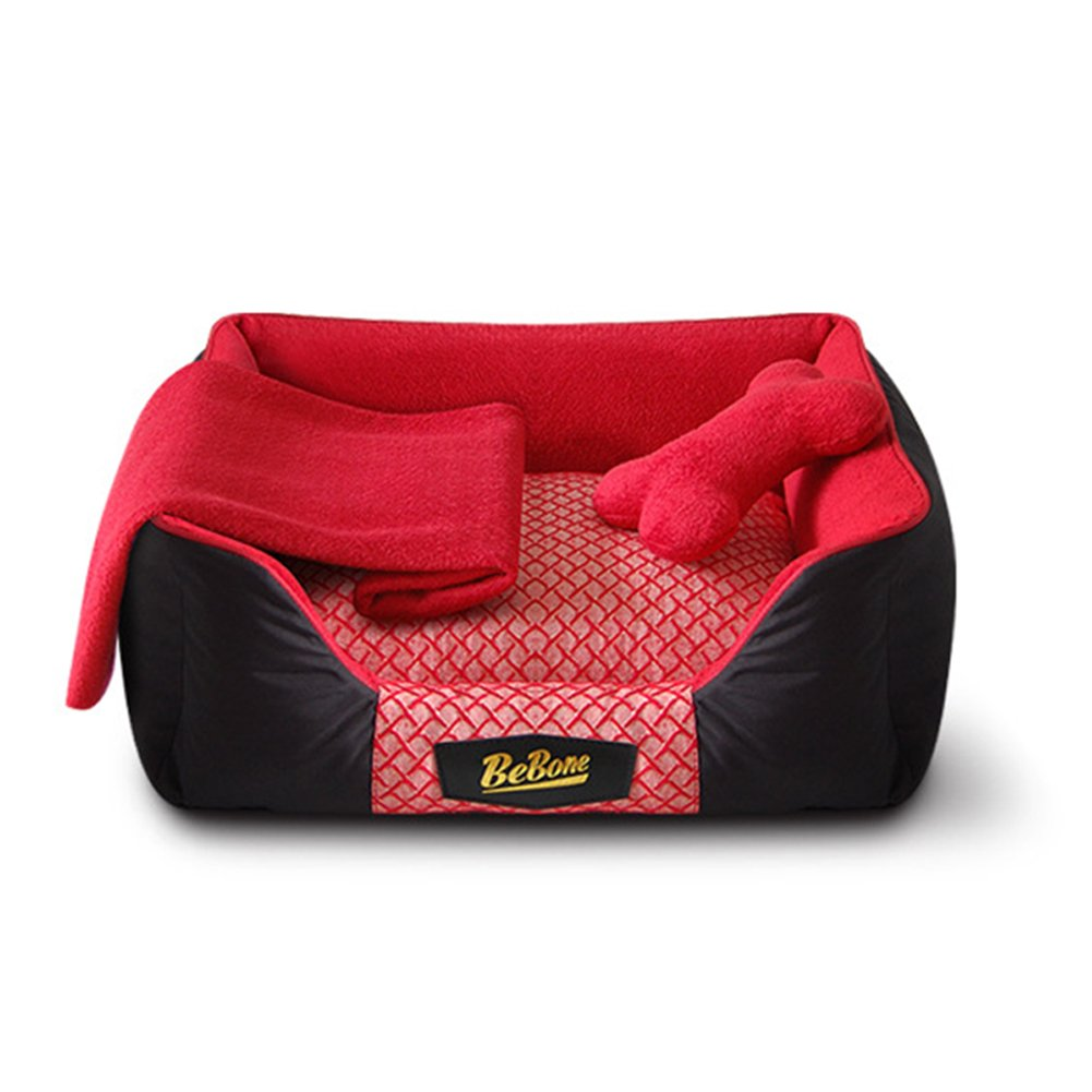Red S Red S BOLICE Ultra-Soft Trellis Pet Bed, Thick Bolstered, Microfiber, Three-piece Red Dog Bed