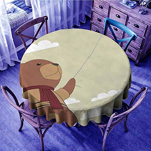 ScottDecor Cartoon Christmas Tablecloth A Melancholic Teddy Bear with Scarf Holding a Balloon Clouds in The Sky Clipart Beach Round Tablecloth Beige Cinnamon Diameter 54