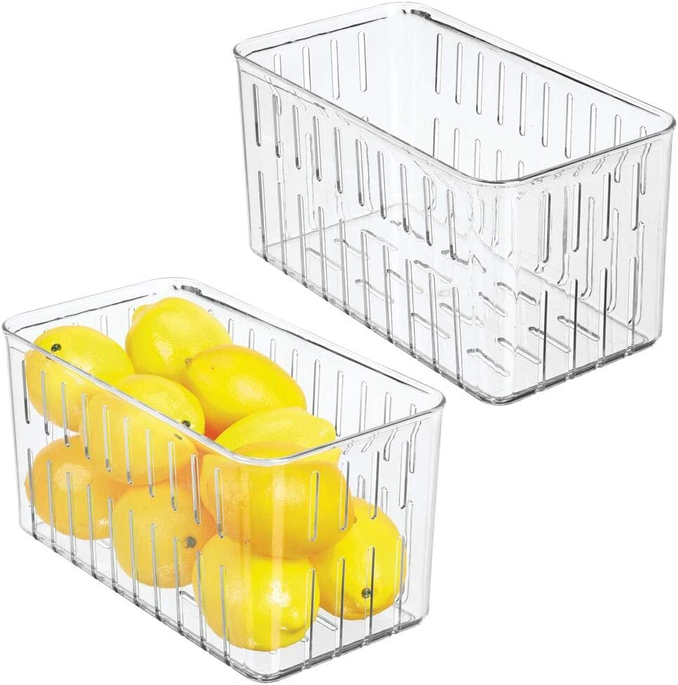 mDesign Plastic Kitchen Refrigerator Produce Storage Organizer Bin with Open Vents for Air Circulation - Food Container for Fruit, Vegetables, Lettuce, Cheese, Fresh Herbs, Snacks - M, 2 Pack - Clear