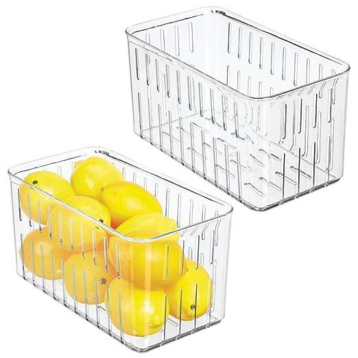 mDesign Juego de 2 cajas plásticas organizadoras - Práctico ...