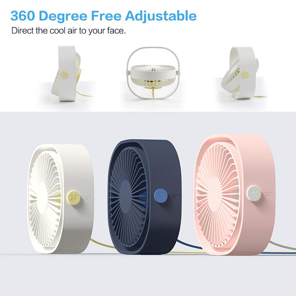 Blue Mini USB Fan Mute Desk Travel Outdoor USB Table Fan Portable Mini Personal Desk Fan with 360 Rotation Low Noise and Adjustable 3 Speed for Office
