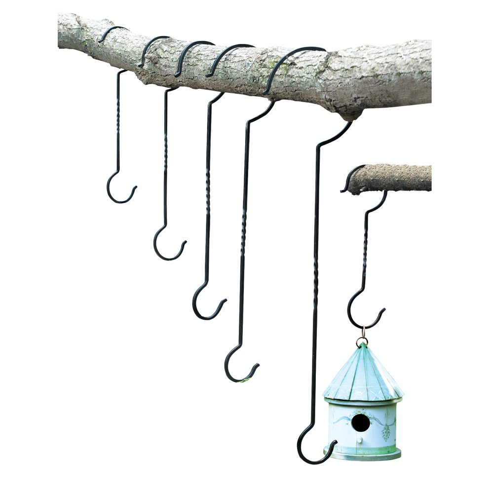 Outdoor Plant Hanging Hooks - Set of 6 - for Baskets, Bird Feeders, Wind Chimes, Garden Ornaments by Collections Etc