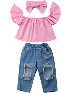 59bb6de1ae3bd 3pcs Baby Girls Kids Off Shoulder Lotus Leaf Top Holes Denim Jeans Headband Outfits  Set