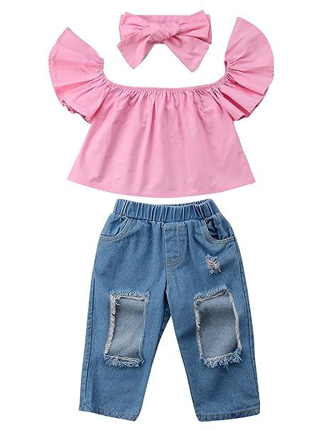 d1c67821e8c4 3pcs Baby Girls Kids Off Shoulder Lotus Leaf Top Holes Denim Jeans Headband  Outfits Set (