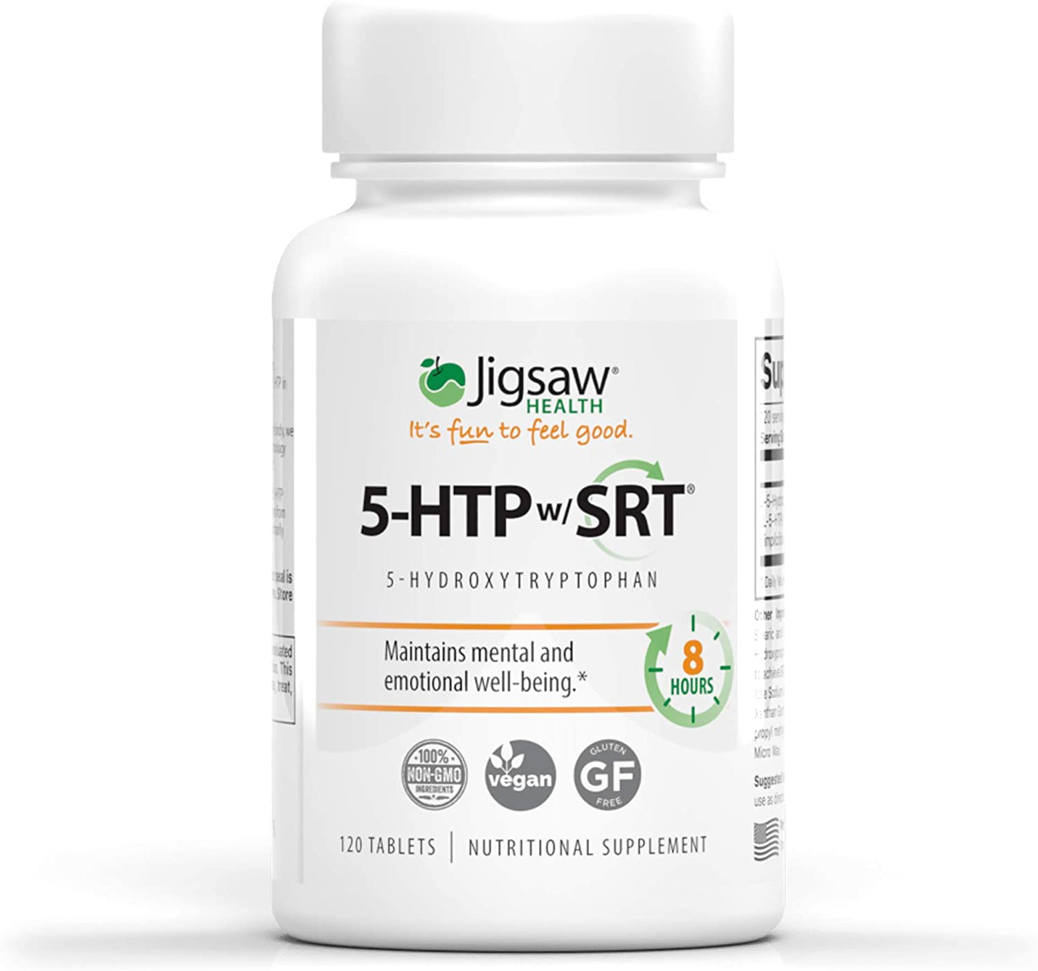 Jigsaw Health - 5-HTP Slow Release - Helps Improve Mood, Emotional Balance, and Sleep Quality utilizing only The purest Form of 5-HTP - 100mg Capsules - 120 Count: Health & Personal Care