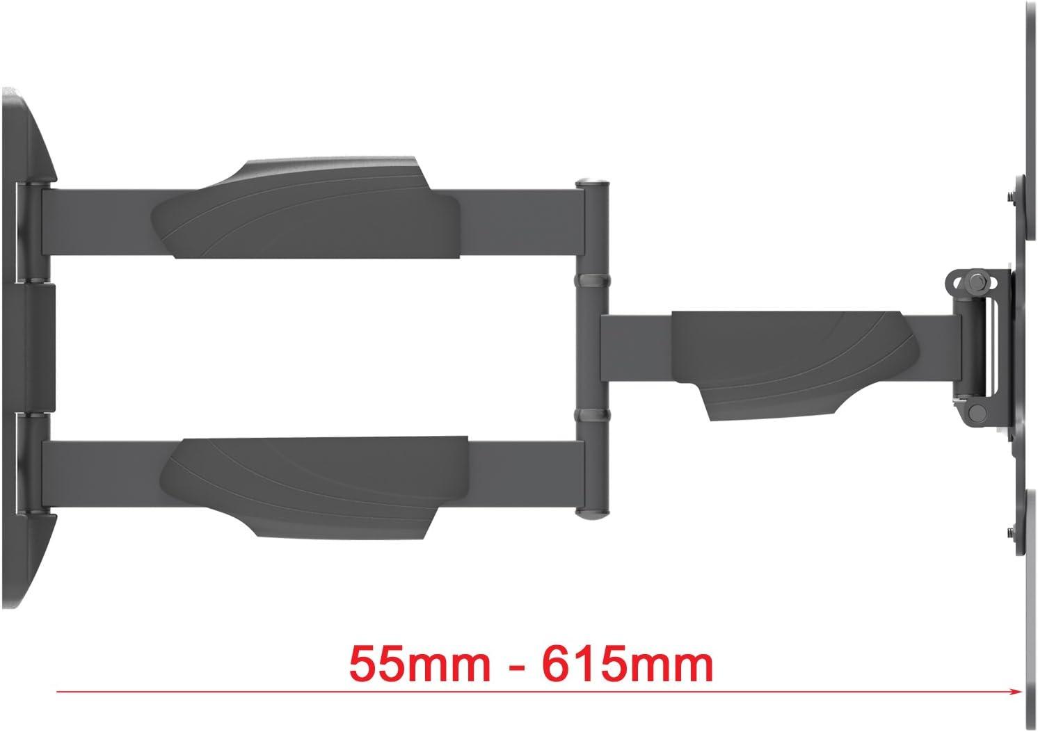 Intecbrackets - Soporte de pared para TV LCD y LED de 42 a 55 pulgadas (brazo basculante, distancia mínima a la pared de 56 mm y máxima de 610 mm, garantía de