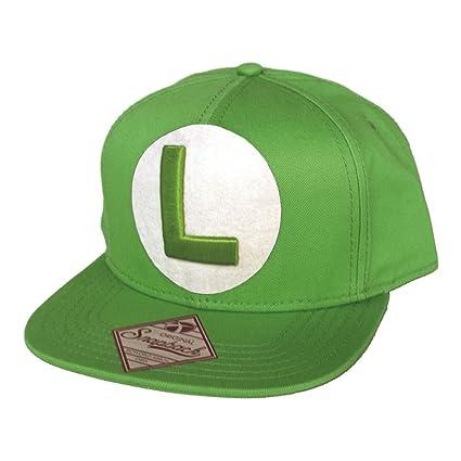 84b3ba3b58e Image Unavailable. Image not available for. Color  Nintendo Super Mario  Bros Luigi Symbol Snapback Baseball Cap Green Sb061803ntn