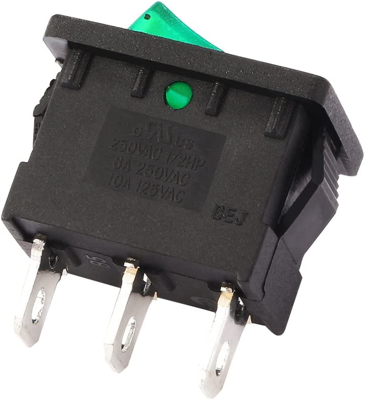 uxcell 10Pcs AC 10A//125V 6A//250V SPST On Off Toggle Switches 3 Pin 2 Position Green LED Light Boat Rocker Switch