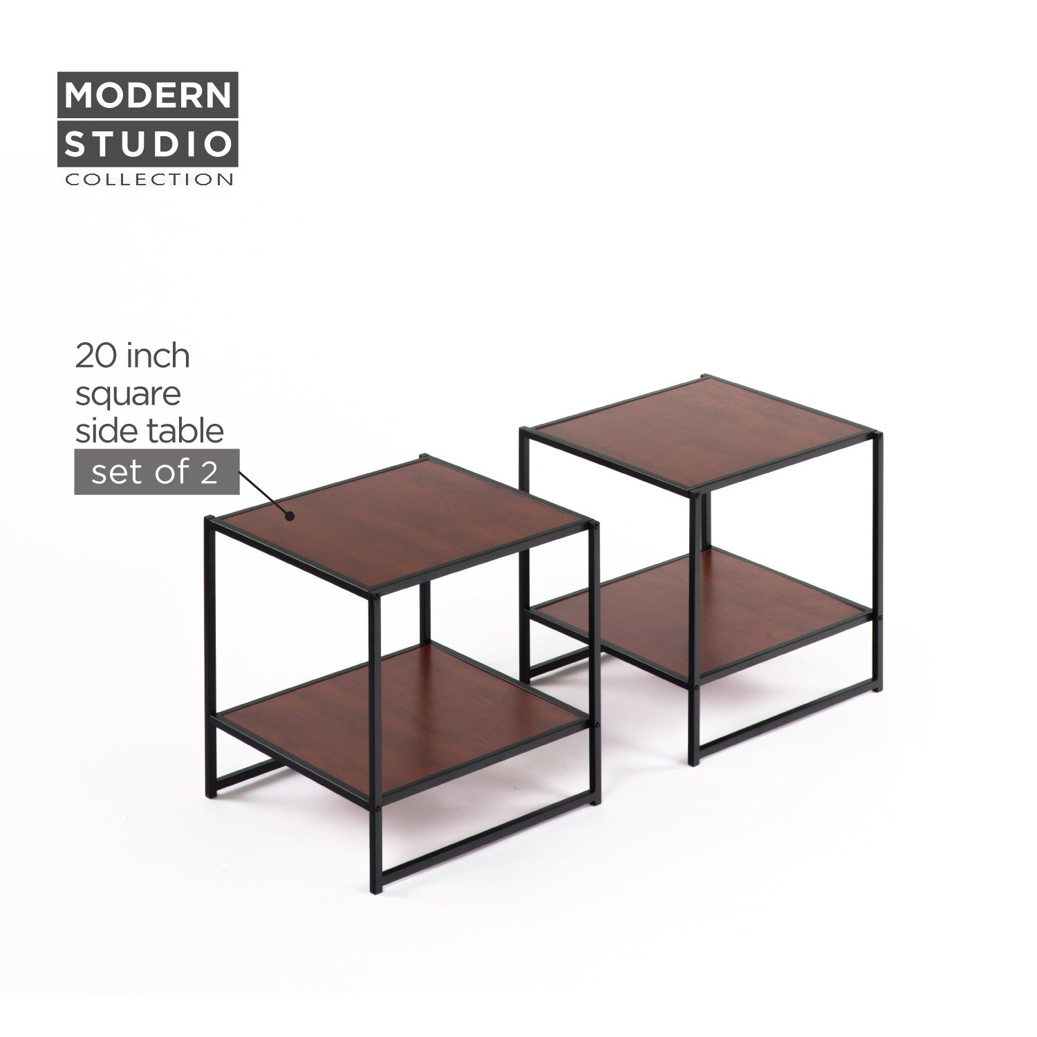 Zinus Modern Studio Collection Set of Two 20 Inch Square Side / End Tables / Night Stands MS-COMBOB
