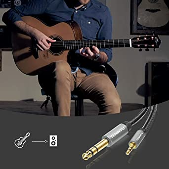 and Amplifiers 10FT Laptop,Home Theater Devices TENINYU 6.35mm 1//4 Male to 3.5mm 1//8 Male TRS Stereo Audio Cable with Zinc Alloy Housing and Nylon Braid Compatible for iPod