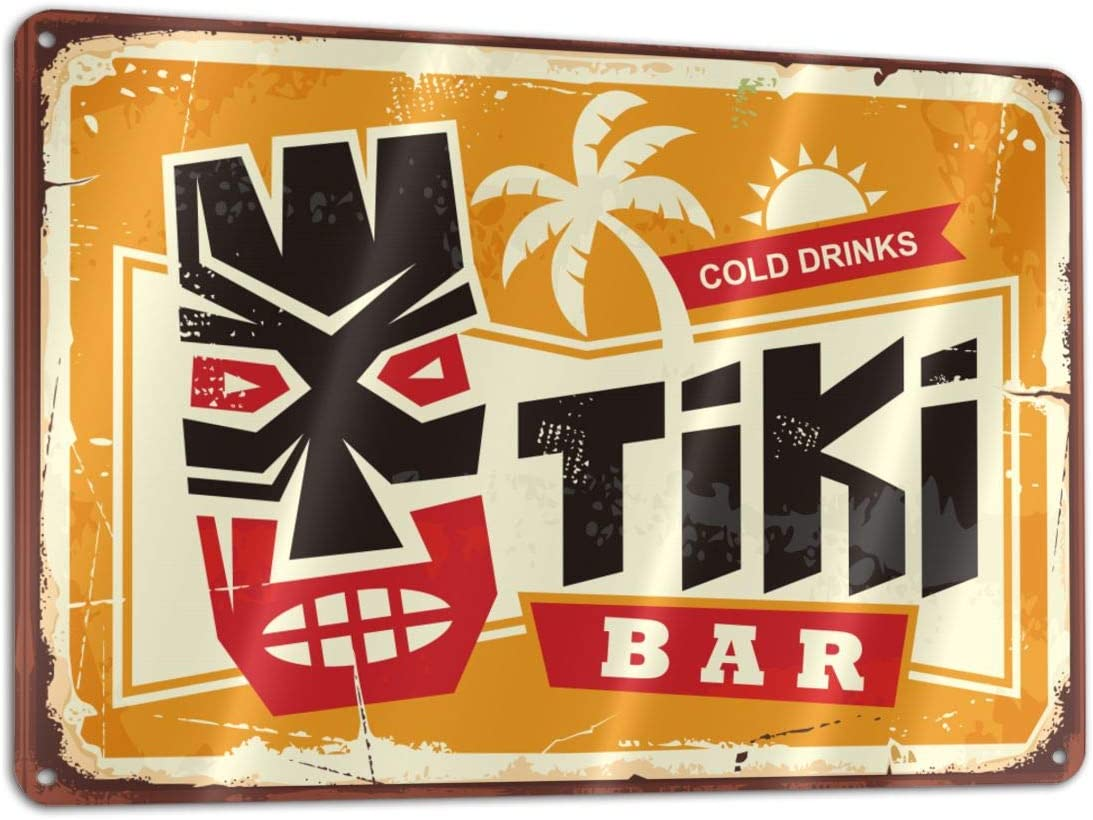 Hawaiian Tiki Mask and Creative Bar Vintage Sign Funny Sign Tin Art Wall Decor, Vintage Aluminum Retro Metal Sign, Iron Painting Vintage Decorative Signs, Coffe Wall Decoration