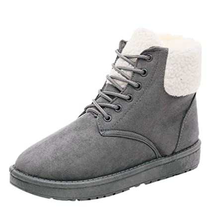 59847c3b0 Amazon.com: Goodtrade8 Clearance Classic Snow Boot for Women Lace-Up Shoes  Winter Flat Boots Warm Plush Insole Ankle Boots (8, Gray): Home & Kitchen