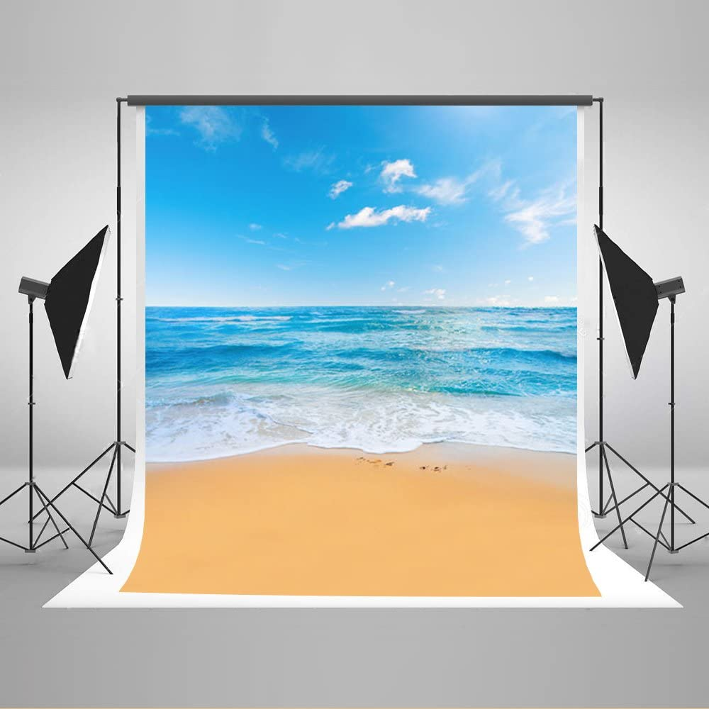 10 Pieces in Stock-Kate 6.5ft(W) x10ft(H) Summer Photography Backdrop Sea Beach Photography Backdrops Blue Sky Photography Background Props for Studio