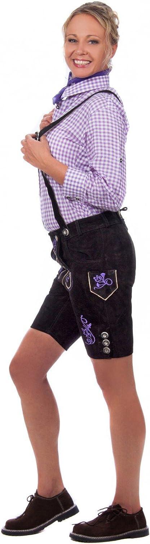 Kurze Damen Trachten Lederhose inkl Hosentr/äger schwarz aus feinstem Rindsveloursleder mit lila Stickerei Gr 32-50