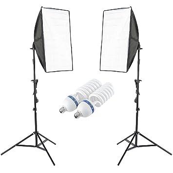 2 x continuous lighting kit 50x70cm softbox soft box photo studio set light bulbs lamp 5500k photography 50 x 70 cm softboxes uk plug