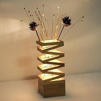 GAOYU Kreative Holz Led Tischleuchte, Eiche Blume Anordnung Dekoration,  Schlafzimmer Nachttischlampe, Wohnzimmer Studie