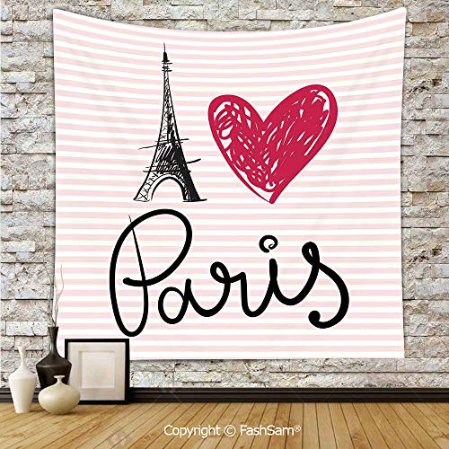 (Tapestry Wall Blanket Wall Decor Eiffel Tower Illustration Classic Symbol of Romantic Famous Icon Tourist Attraction Decorative Home Decorations for)