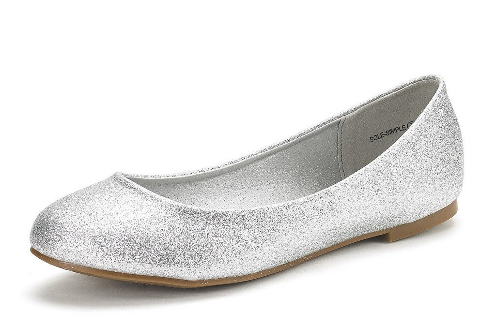DREAM PAIRS Women's Sole Simple Silver Glitter Ballerina Walking Flats Shoes - 8.5 M US