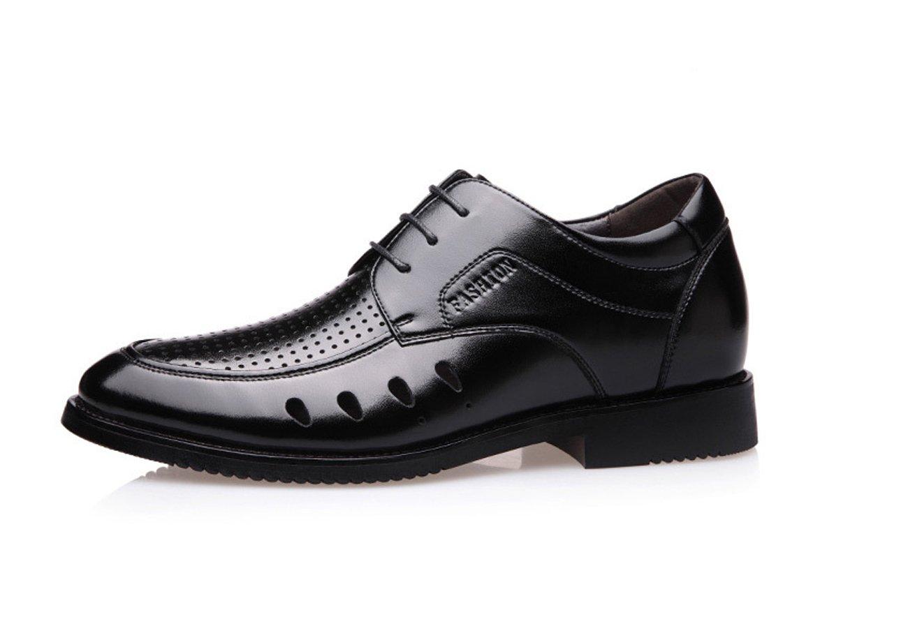 LHFJ Mens Leather Sandals Formal Business Shoes Leisure Hollow Breathable Sandals (Color : Black, Size : 40)