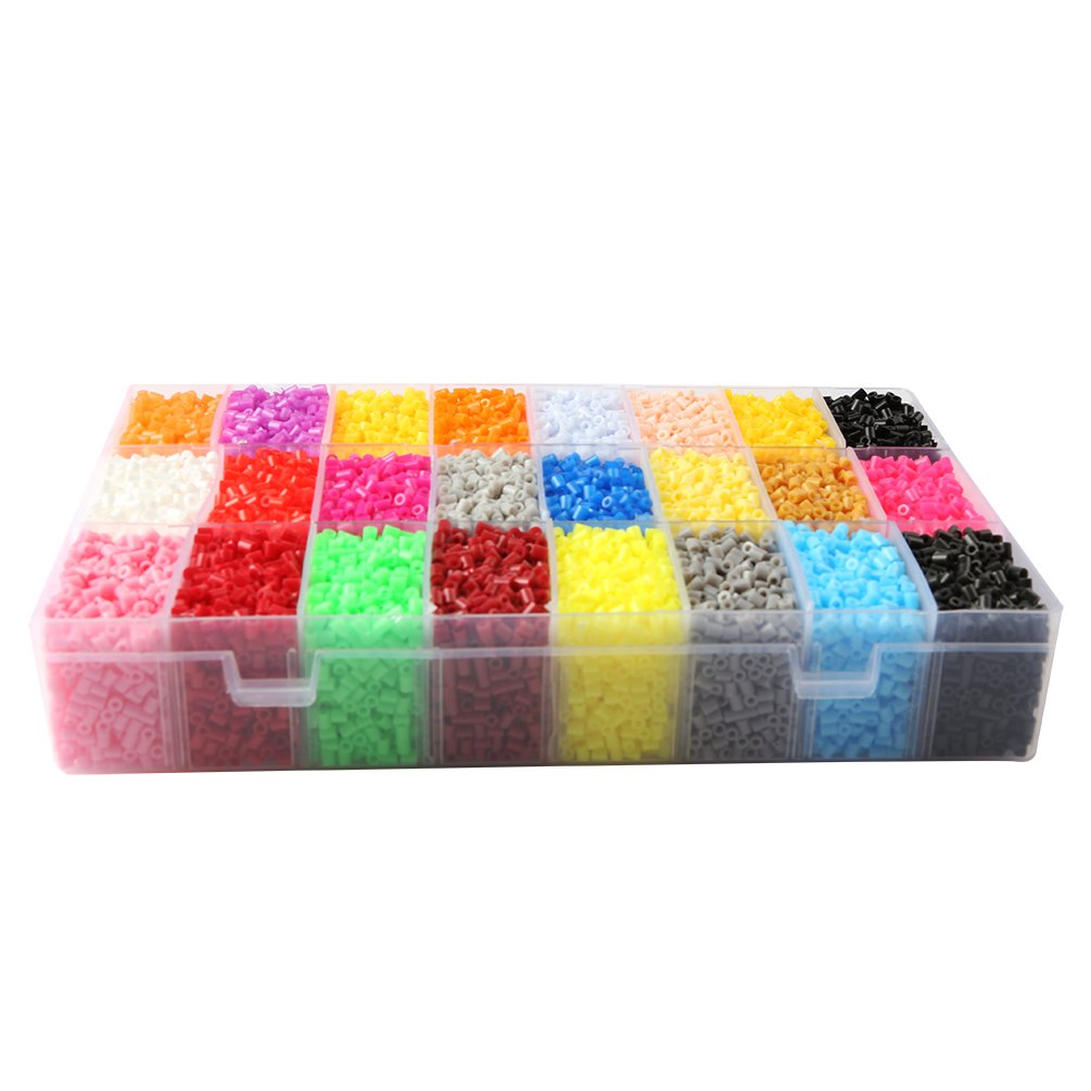 Children DIY Toys Mini Fuse Beads Size 2.6MM 27400 PCS 24 Color with 2 Ironing Paper