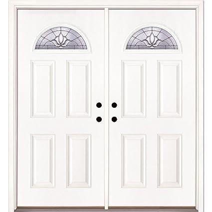 Medina Zinc Fan Lite Primed Smooth Fiberglass Double Entry Door