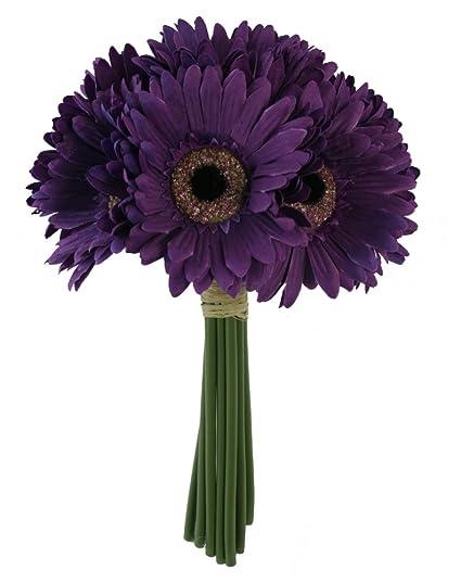 Amazon.com: Purple Daisy Bouquet - Bridal Wedding Bouquet: Home ...